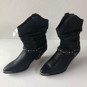 Dingo Black Leather Slouch Cowgirl Boots Size 8